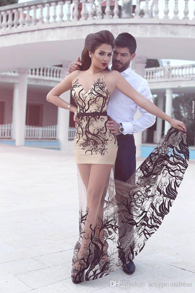 Sexy sagte mhamad prom kleider nude farbe abendkleider 2016 ärmellose tüll satin mantel bodenlangen schwarzen champagner durchsichtig kleid