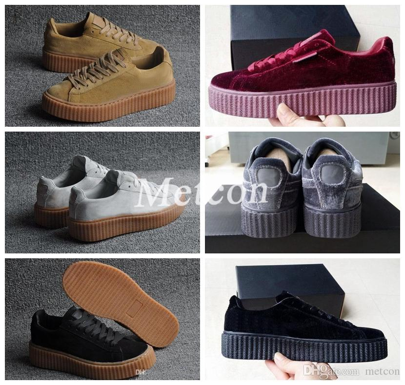 Velvet Rihanna X Suede Creepers 2017 New Rihanna Creeper Grey Red ... a1b42fb3f
