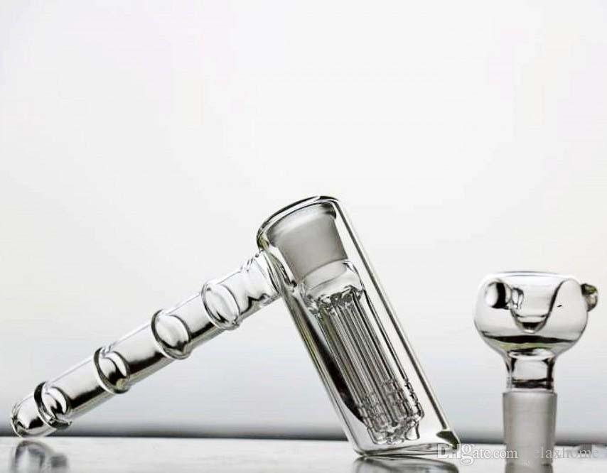 In Stock Cheap Glass Bongs For Smoking Hammer 6 Arms Perc Percolator Hookahs Bubbler Pipes Water Glass Bongs Smoking Bong