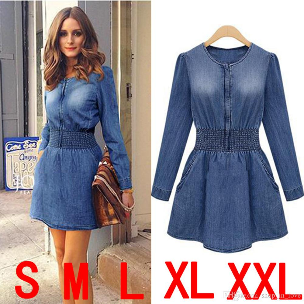New Hot Good Selling Ladies Women Casual Retro Slim Long-sleeved Round Neck Denim Dress Clothes 2309