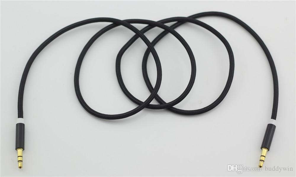 헤드폰, 스피커, 핸드폰, 컴퓨터 / lot에 대 한 깨진 된 금속 직물 Braid 오디오 보조 자동차 연장 케이블 3.5 mm 남성 남성
