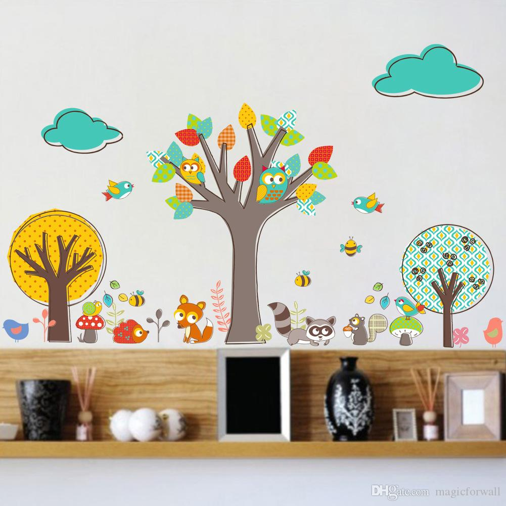 Cartoon Animals Creative Colorful Tree Wall Stickers Decal for Kids Room Nursery Decor Bees Birds Owls Wallpaper Poster Mural Wall Applique