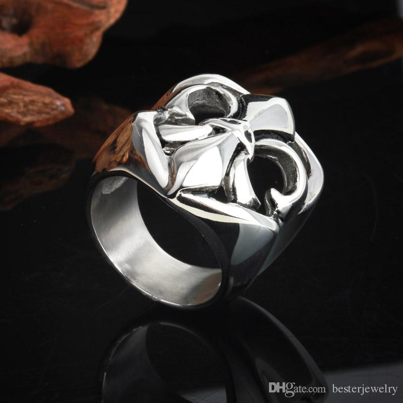 Size #8-12 New Army Artichoke Hearts Rock Ring Stainless Steel Gothic Cross Rings Jewelry For Men