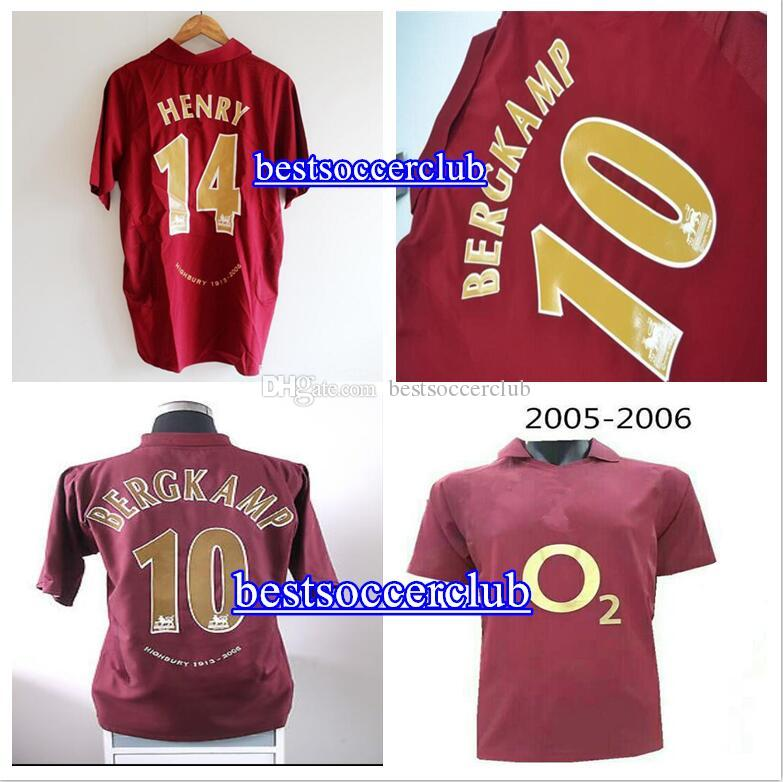 2005 2006 HIGHBURY FOOTBALL JERSEY SOCCER Dennis Bergkamp PIRES HENRY  14  V. Persie Fabregas  15 REYES Retro JERSEY GUNNERS 05 06 JERSEY 2005 2006  Henry ... 78f92b30c