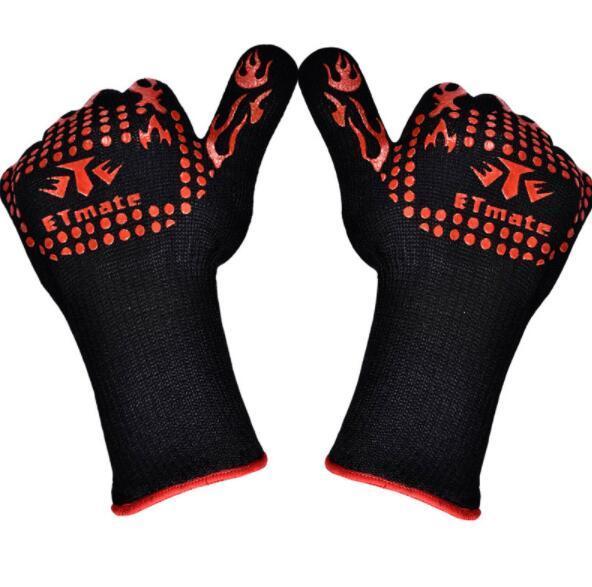 Silica Gel Aramid Fiber Cotton -Heat Resistant Multi-Purpose Baking Opening Jars Baking Gloves Barbecue Glove Grilling BBQ Gloves