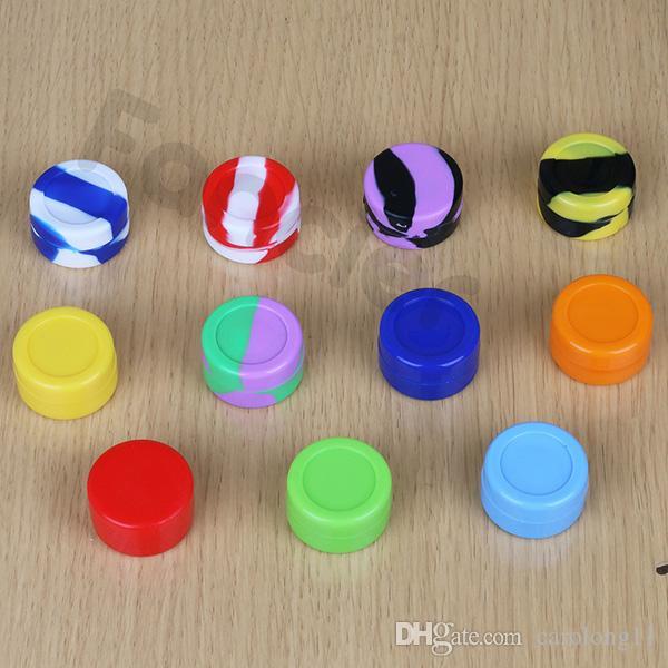 Vente en gros 5 ml antiadhésif Jar silicone Dab cire contenants pour la cire Jars silicone concentré Cas n ° 6 en 1 Dabs Conteneurs silicone