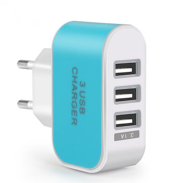 UE EE. UU. Enchufe 3 puertos Adaptador de cargador de pared USB múltiple Dispositivo de teléfono inteligente móvil 5V 3.1A Adaptador de alimentación Carga rápida para iPhone iPad XiaoMi
