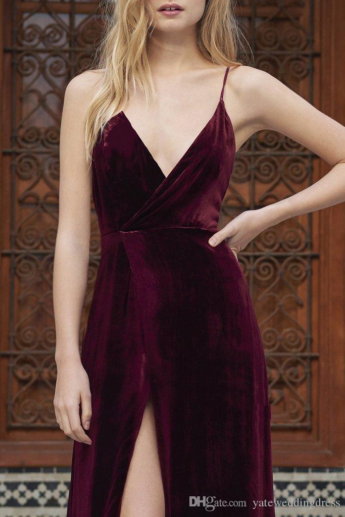 Burgund Prom Dress Samt Spaghetti Sexy Abendkleider Zurück Criss Cross Front Split Nach Maß Bodenlangen Formelle Party Kleider 2017