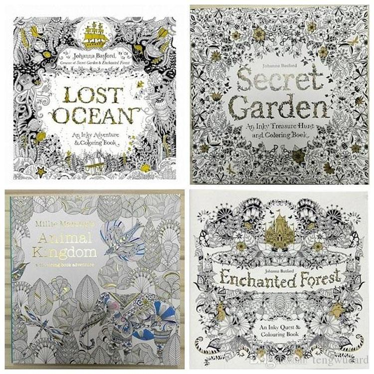 Prettybaby 25x25cm Animal Kingdom Enchanted Forest Lost Ocean Secret Garden Coloring Book Drawing For Kid Adult Relax Graffiti Painting Printable Color