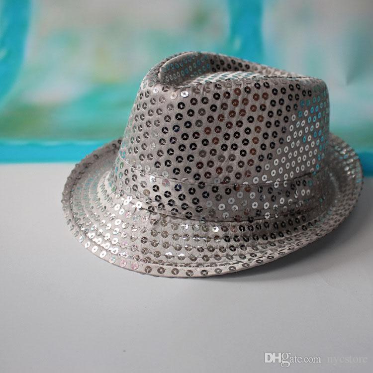 9 filles de couleur garçons bling chapeaux bébé chaud coton Jazz Cool Cap Photographie Top été soleil paillettes Chapeau Trilby Floppy Hat pour 2-8T