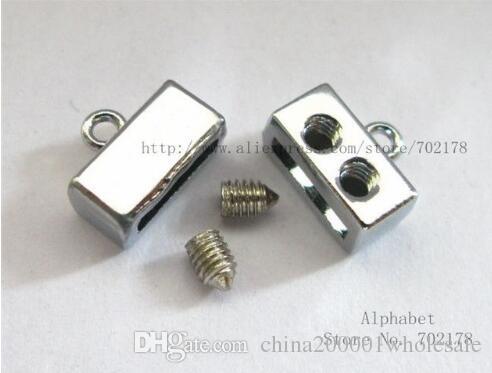 de color plata encantos de cristal simple de aleación de zinc Fin broche de 8 mm Conector deslice el collar DIY Accesorios Fit 8mm mascotas pulsera llavero