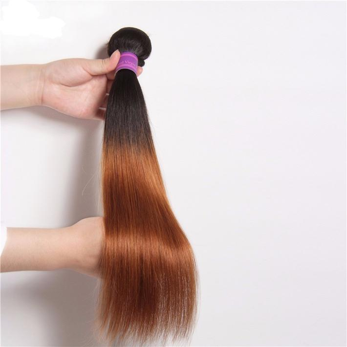 Dark Roots 1B 30 Blonde Ombre Weave Bundles Malaysian Virgin Hair Silky Straight Colored Two Tone Medium Auburn Ombre Human Hair Extentions