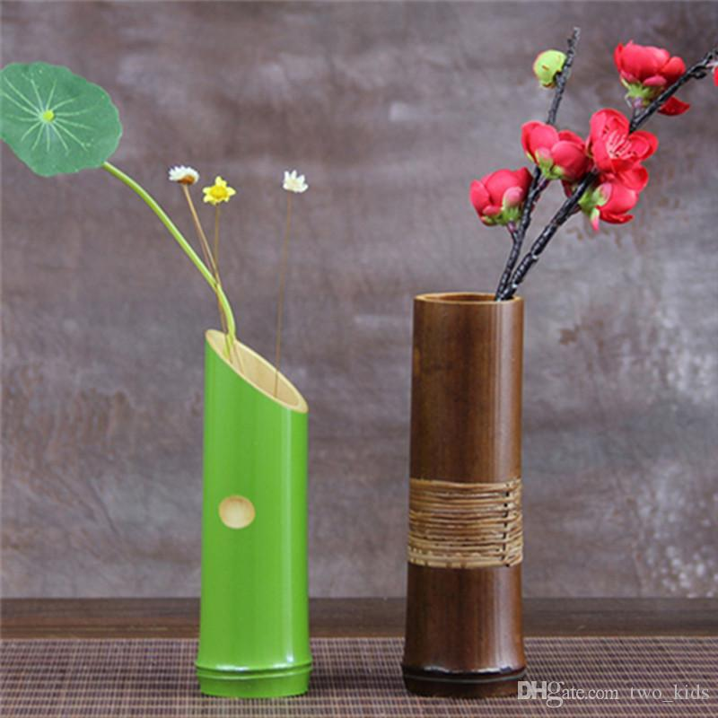 Wholesale Handmade Japanese Bamboo Flower Vase For Home Decoration Plant Paint High Quality