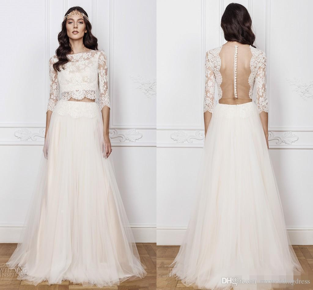 Discount 2017 New Trend Boho Two Pieces Wedding Dresses