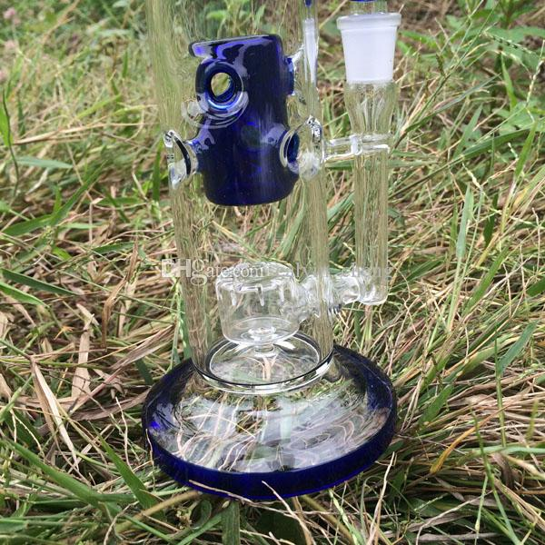 Heady Fab egg rig Glass bong water pipe 10 inch bent Blue color Glass rigs Water Bongs Birdcage percolator Pipes 14.4mm joint