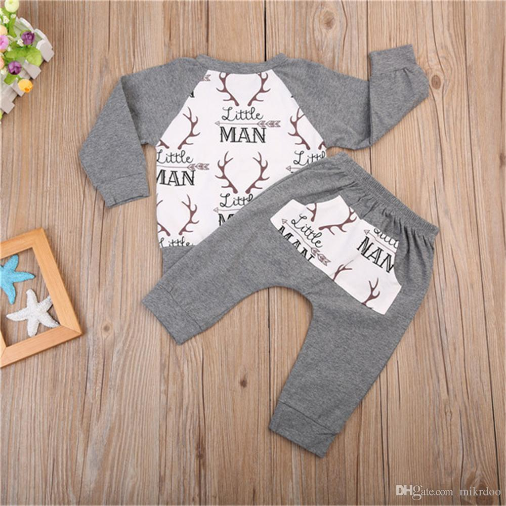 Mikrdoo 2017 Hot Grey Baby Clothes Suits Christmas Deer Little Man Print T-Shirt Grey Pants Sets Cotton Casual Kids Boy Fashion Outfits