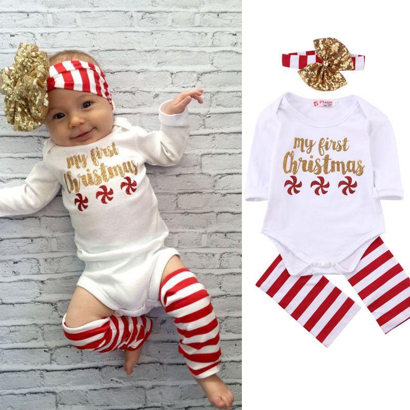 9b682ccfb070 2019 Fall Autumn Christmas Romper Set Baby Long Sleeve Jumpsuit + ...