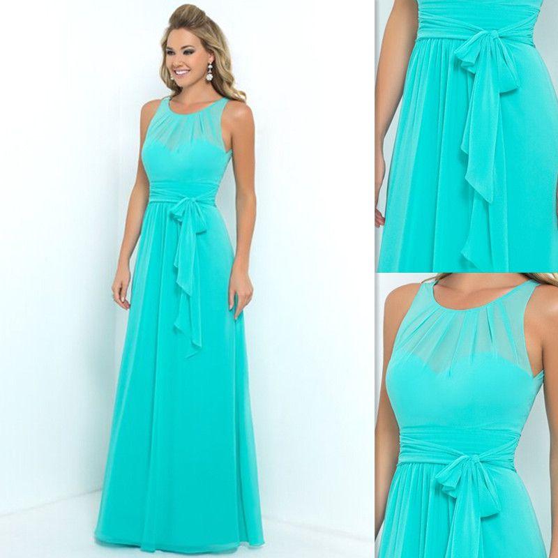 Turquoise Bridesmaids Dresses 2016 Chiffon Sheer A Line
