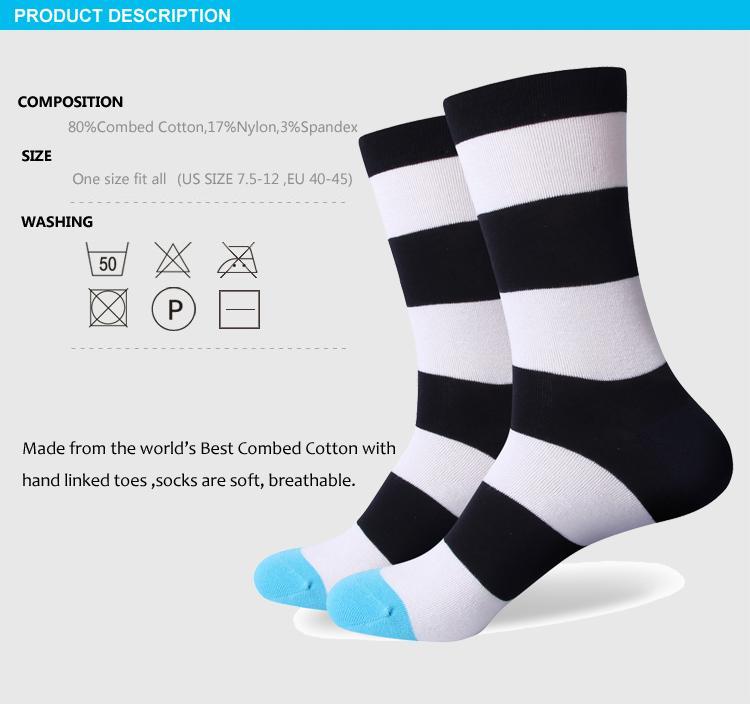 2016 heren gekamd katoen merk mannen sokken, kleurrijke streep casual sokken, US size 7.5-12 317