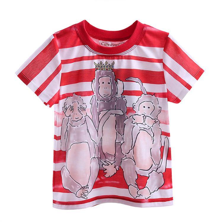Cutestyles 2016 Funny Boys T-shirt Cute Three Monkey Pattern e Red Stripe Kids T-shirt 2-9 anni BT90324-19L