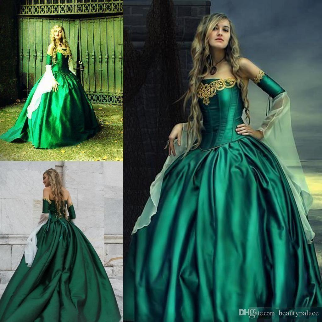 Gothic Wedding Dresses Halloween Victorian Bridal Gowns Long Sleeves
