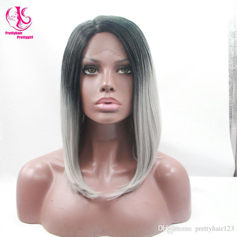 Cool! Glueless Silk Straight bob wig Synthetic Lace Front Wig Ombre Tone Color Black to gray Short Bob Heat Resistant Wigs