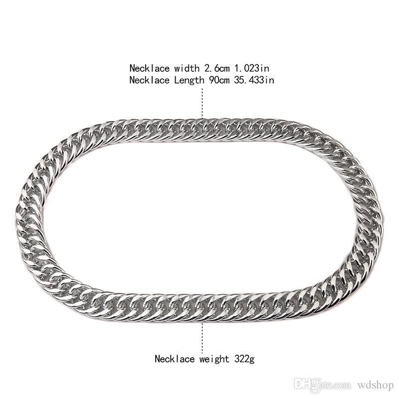 Erkekler 'S 35 Inç 90 cm 26mm Hip Hop Zincir Kolye Abartılı Süper Büyük Alüminyum Bildirimi Kolye Tıknaz Rapçi Kolye