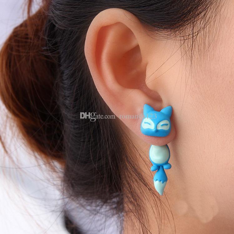 Enamel Alloy Animal Cute Fox Stud Puncture Earrings For Women Jewelry DHL