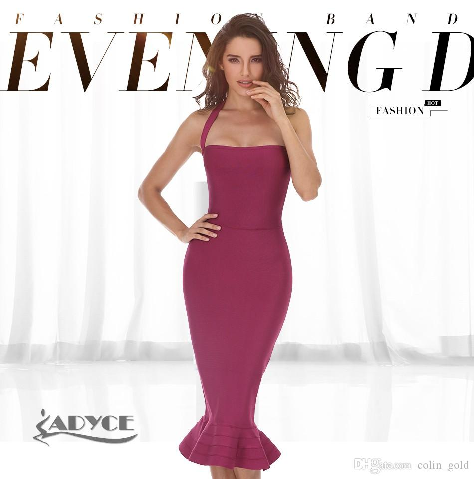 5375c89e005 2019 2017 New Women Party Bodycon Bandage Dress Sexy Khaki Wine Red Off  Shoulder Halter Fishtail Midi Club Backless Summer Dresses From Colin gold
