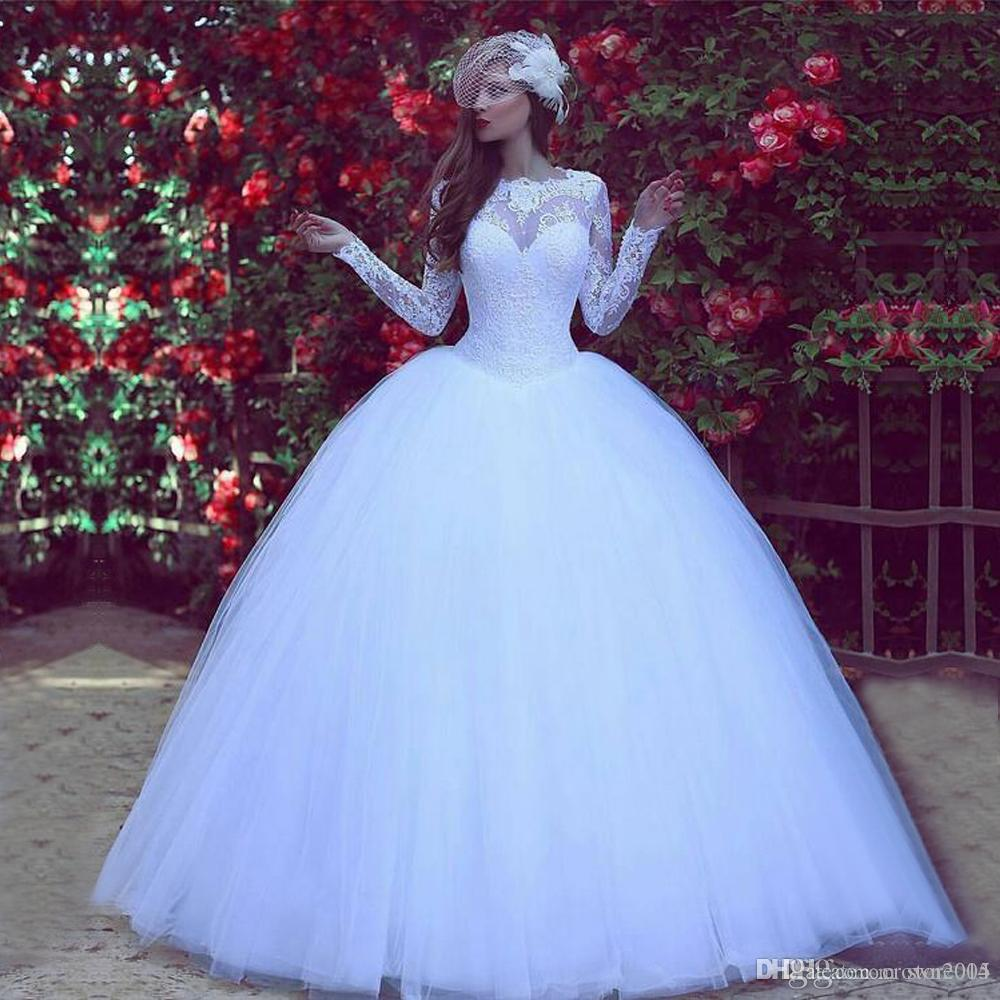 Muslim Arabia Long Sleeves Wedding Dress Lace Ball Gown Bridal Dresses White 2019 Winter Princess Puffy Gown Tulle modest Wedding Gowns