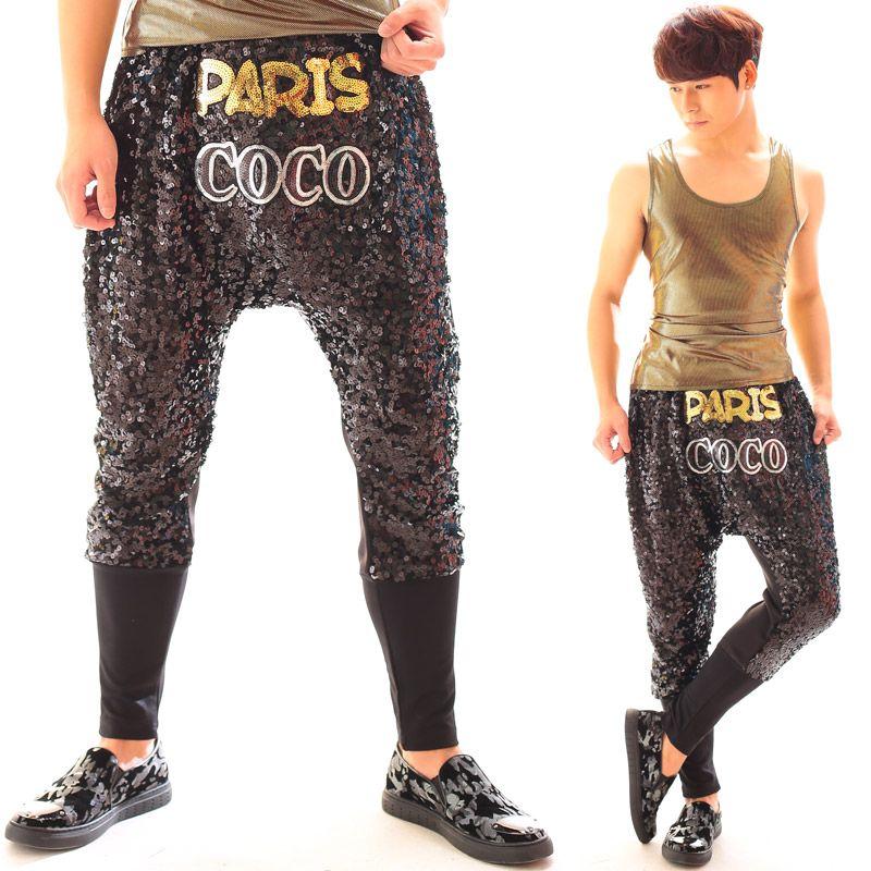 Compre Al Por Mayor Nightclub Hombre Cantante DJ Gd Colgando Entrepierna  Pantalones Hip Hop Pantalones Harem De Oro Paillette Mostrar Pantalones De  ... 767dd551b5d