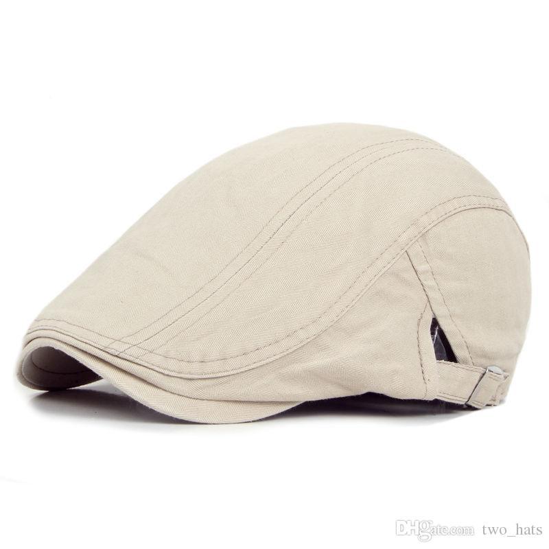 ec5eb741fb4 2019 Men Visor Berets Adjustable Beret Caps Spring Summer Outdoor Sun  Breathable Bone Brim Hats Men Herringbone Solid Flat Berets Cap Hat From  Two hats