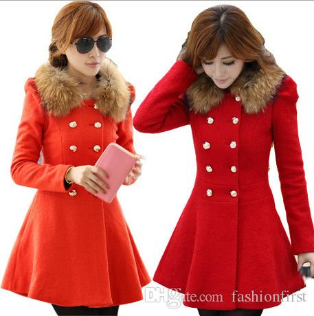 2bfaabac38 2019 Red Black Navy Orange Red Camel Faux Fur Collar Skirt Coats Cute  Winter Short Wool Jacket S XL From Fashionfirst, $15.08 | DHgate.Com