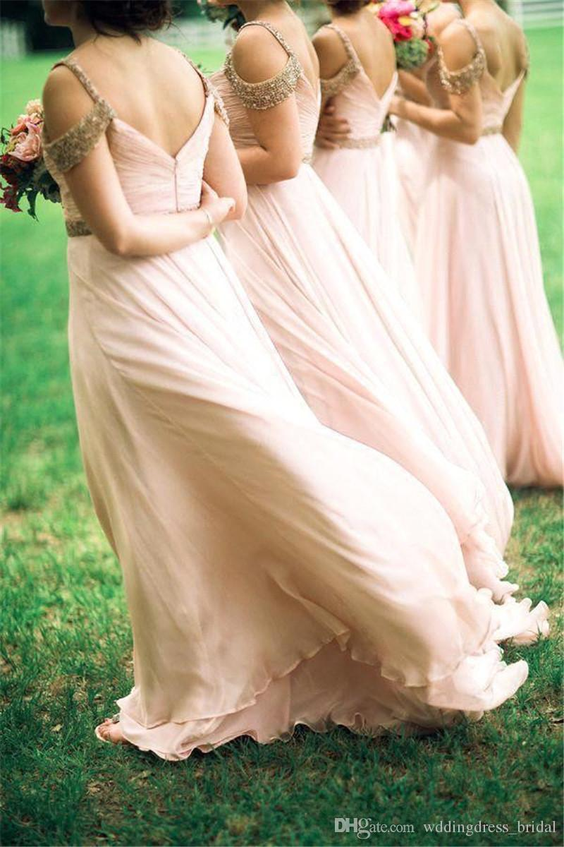 Sexy Blush Pink Bridesmaid Dresses 2019 A Line Beaded Cap Sleeves Backless Long Chiffon Dresses Summer Garden Wedding Guest Party Gowns