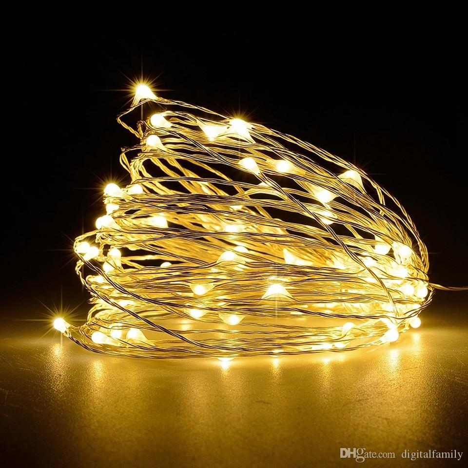 Halloween Christmas LED String Lights 5M10M Outdoor Christmas Fairy Lights Warm White Silver Wire LED Starry Light DC12V Wedding Decoration