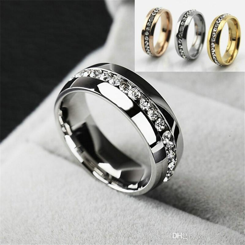 Stainless Steel Gold Silver Rings For Women Men Fashion Crystal