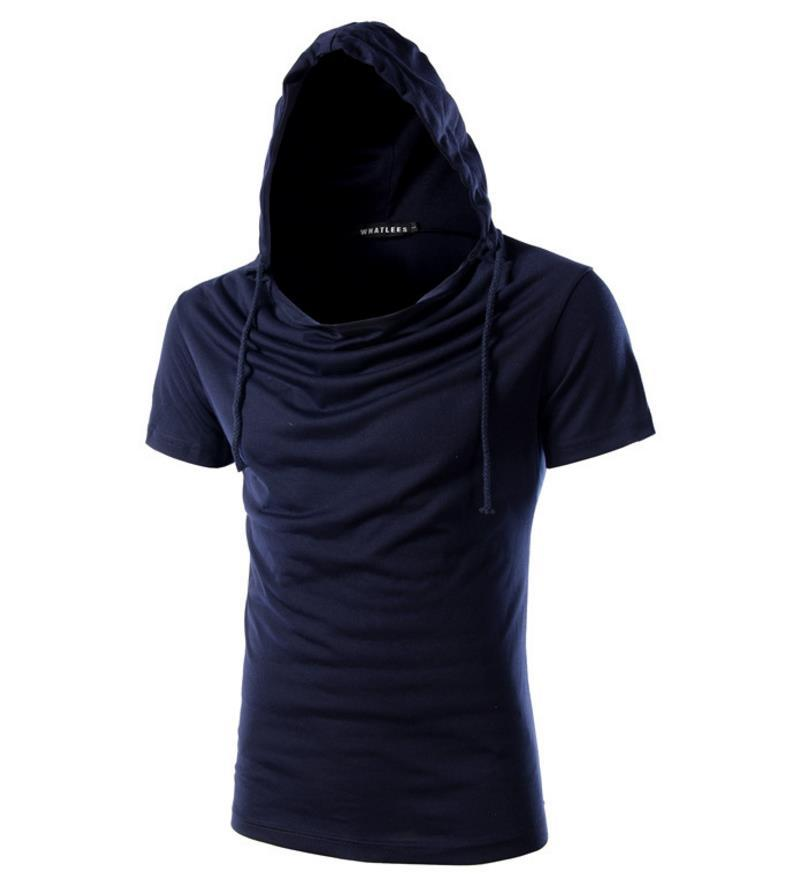 T-shirt Homme Homme Couleur unie à capuchon Design Nouveau Arrivée Pull à manches courtes col monceaux Mode Casual Hommes Sport T-shirt Livraison gratuite