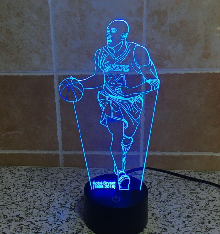 Kobe Bryant 3D Optical Night Light 10 RGB LEDs DC 5V USB Powered With AA Battery Bin Factory Wholesale