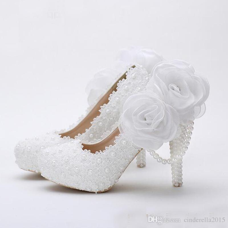 White Flower Lace Platform Bridal Shoes Beautiful Women High Heels Handmade  Lace Wedding Dress Shoes Girl Birthday Party Pumps Wedding Shoe Shops  Wedding ... d1f5ea5e75a8