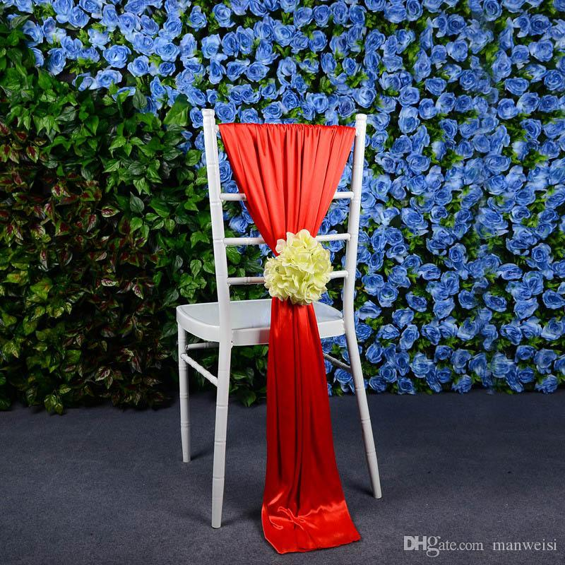 Flower Jacquard Chair Covers For Wedding Ceremony Ribbon Chair Sashes Party Banquet Decoration Satin Sash Wedding Supplies