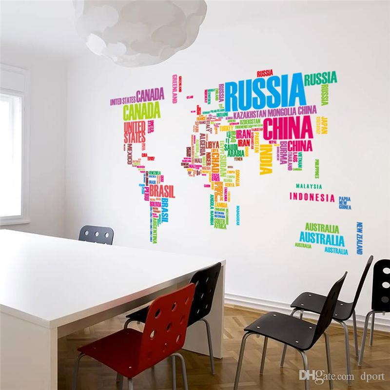 Diy Office Wall Art Colorful Letters World Map Wall Stickers