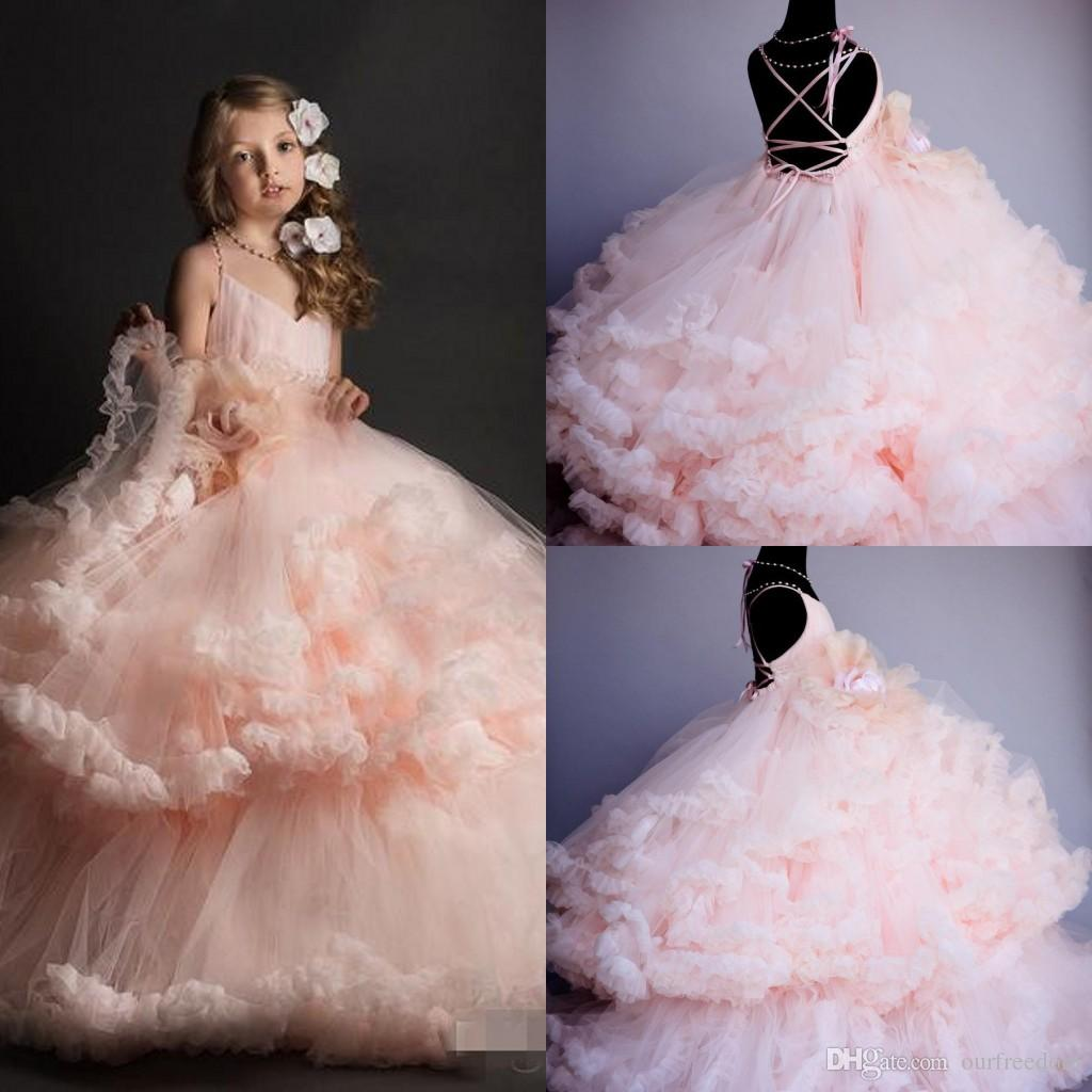 Princess Pink Ball Gown Flower Girls Dresses Criss Cross Tiered