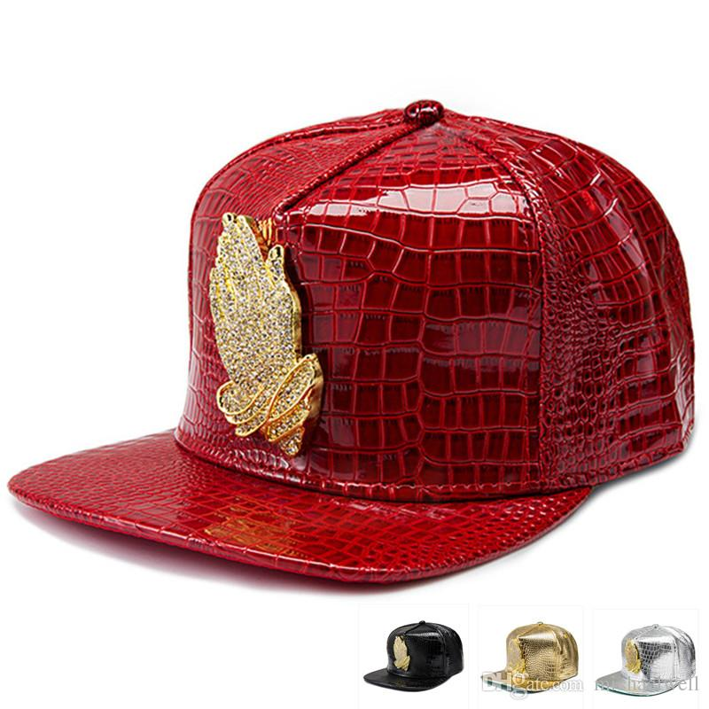 PU Leather Jesus Hip Hop Hats Diamond Crocodile Grain Bone Rhinestone  Snapback Golden Praying Hands Baseball Caps Men Women Gift Casquette Custom  Trucker ... d4b8fb617db