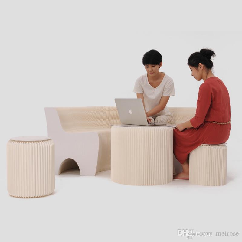 H65xL300cm Novel Innovation Furniture Pop - Smart Bench Indoor Universal Waterproof Accordion Style Foldable Kraft Sofa For 6 Seats 71-1044