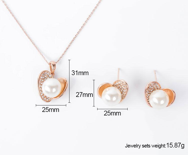 Earrings Necklace Jewelry Set Exquisite Elegant High Grade Rhinestone & Pearl 18K Gold Plated Heart Style Party Jewelry 2-Piece Set JS254