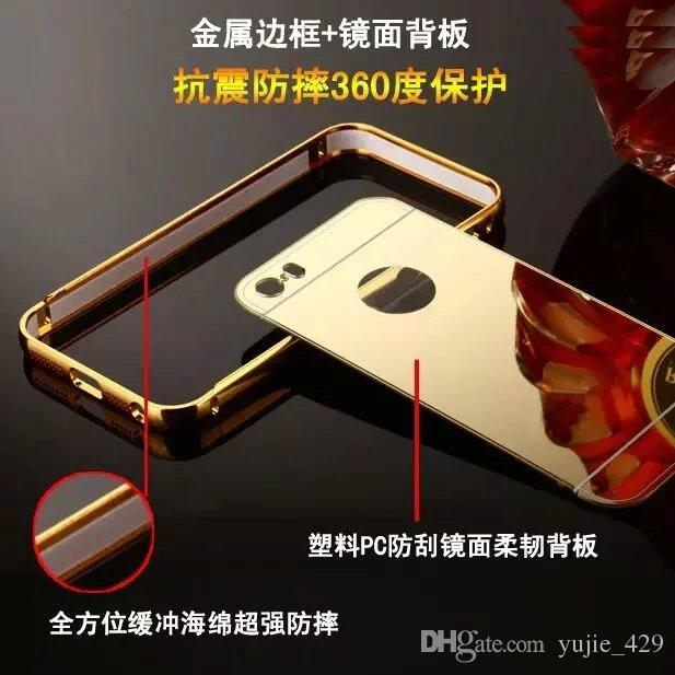 plate Mirror Gold Aluminum Case For Samsung Galaxy S5/S4/S3Luxury Metal Frame Ultra Slim Acrylic Back Cover aluminium metal bumper