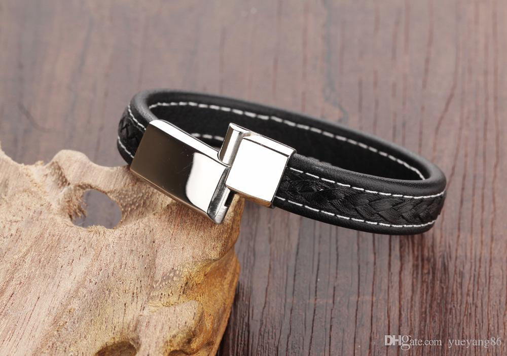 Brand New Black Genuine Leather 12mm Silver Tone Stainless Steel Vogue Mens Jewelry Bangle Bracelet magnetic snap