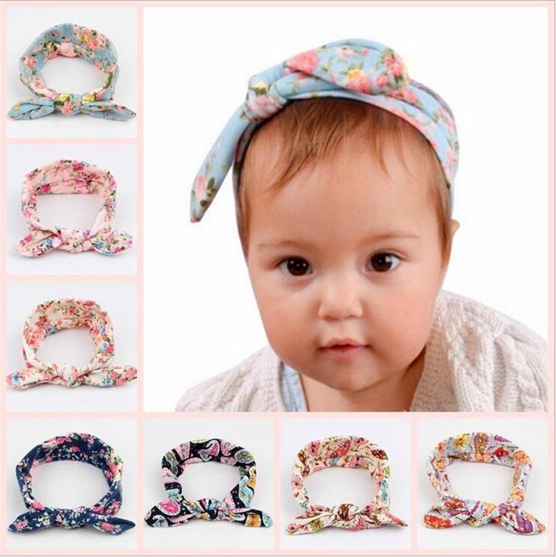 Children Kids Headbands Bow Baby Turban Knot Princess Hairbands Cotton  Bunny Rabbit Ear Headband Baby Elastic Floral Hair Accessories KHA454  Elastic Cotton ... ae0d85c67120