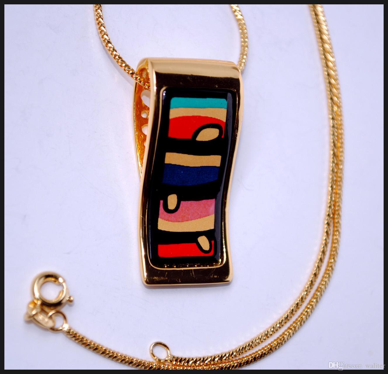 American Wind Series Collane di smalto placcato oro 18 carati donna Collane con ciondolo a forma di collana
