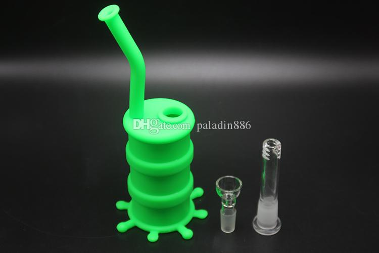 Dab Rig Silikon Bong Shisha Wasser Bongs Pipes Mit 14mm Glasschüssel Aschfänger 10CM Länge Downstem Mund Silikon Bong